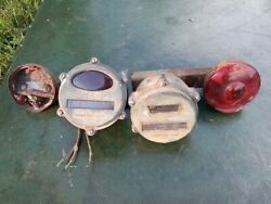 Vntg 2 Industrial Lamp Corp. Army Military Trailer Tail Lights And Cyclostat Light