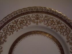 Minton Thick Raised Gold Encrusted Dinner Plate 10 1/2 Inch Mint Condition