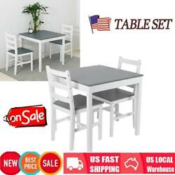 Pub Dining Table And Chairs Kitchen Pine Wood Square Desk With 2 Chairs Gray New