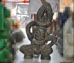 China Hongshan Culture Meteorite Iron Carved Weird The Man Woman Genitals Statue