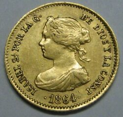 1864 Madrid 40 Reales Isabel Ii Spain Gold Doubloon Spanish Colonial Era
