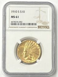 1910-s 10 Indian Head Pre-33 Gold Eagle Ngc Ms61 Old Ngc Holder - Good Value