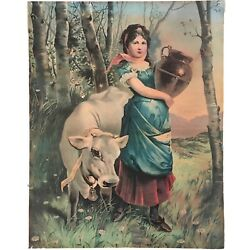 """Vintage French Young Woman Carrying Jug Urn With White Charolais Cow 20"""" X 16"""