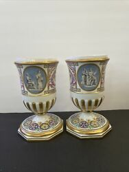Pair Of Sevres Style Hand Painted Vase/urns Signed Mystery Hallmark