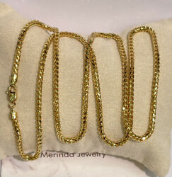 18k Solid Yellow Gold Italian Franco Chain/ Necklace. 26 Inches. 28.50 Grams