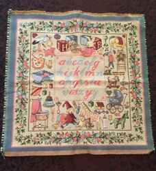 Vintage Tapestry ABC#x27;s Made in France Pillow Or Wall Hanging 20quot;X20