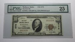 10 1929 Wallace Idaho Id National Currency Bank Note Bill Ch. 4773 Vf25 Pmg