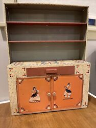 Vintage Ideal Toy Corp. Metal Tin Child's Toy Kitchen Cabinet