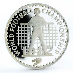 Lesotho 10 Maloti Football World Cup In Spain Proof Silver Coin 1982