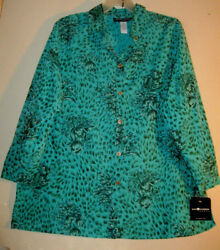 Sag Harbor 3x 22 New With Tags Blouse Aqua Black Floral Lovely Pattern, Long Cut