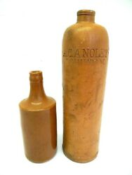 A.c.a. Nolet Schiedam Wine Beer Bottles Glazed Pottery Vintage Used Two Old