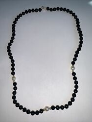 14k Yellow Gold And Black Onyx Bead And Pearl Necklace 19.5andrdquo S4