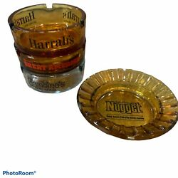 Lot Of 4 Vintage Glass Ashtrays. Casino And Hotels. Retro Glass Collectibles.