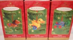 2001 Hallmark 3 Wooden Pull Toys Ornaments Complete Waggles Wiggles Waddles