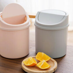 2pcs Desktop Mini Trash Cans Garbage Bins Plastic Rubbish Containers With Cover