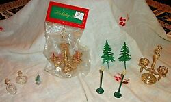 Odd Lot 9 Vintage Doll House And Ornament Craft Christmas Trees Mini Glass Bottles