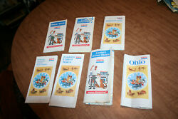 Lot Of 7 Vintage Exxon Gas Station Maps Oh Ny Pa Eastern Us See Pix