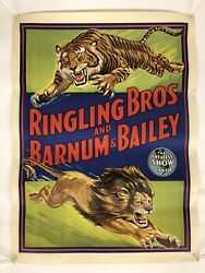 """Vintage Ringling Bros And Barnum And Bailey Lion/tiger Circus Poster 28"""" X 21"""""""