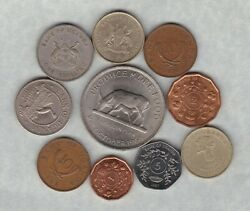 Ten Uganda Coins 1966 To 2008 In Good Fine Or Better Condition.