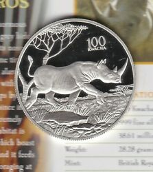 1998 Zambia Rhinoceros Silver Proof 100 Kwacha With Capsule And Certificate.