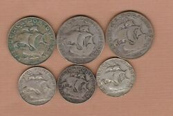 Six 1932 To 1947 Portugal Silver Five And Two And Half Escudos In A Used Condition