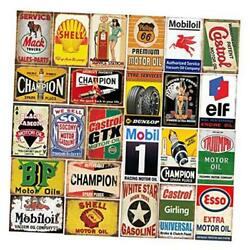 26 Pieces Gas And Oil Tin Signs, Retro Vintage Metal Sign For Home Man Cave