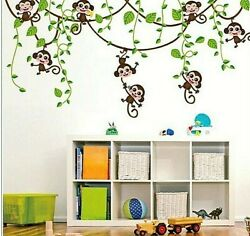Removable Jungle Monkey Tree Wall Stickers PVC Art Vinyl Decal for Room
