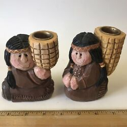 Rare Eddie Walker Indians W/corn Candle Holders Thanksgiving Native American