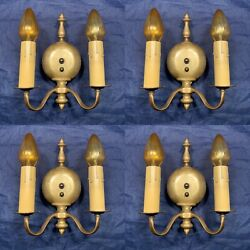 Set Of Four Quality Antique Double Candle Wall Sconces With Beautiful Patina 93f