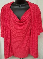 Sag Harbor Womens Red Striped Layer Look Shirt Top Blouse Size 3x
