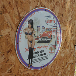 Vintage 1950 Atlantic Union Oil Company Limited Porcelain Gas And Oil Metal Sign
