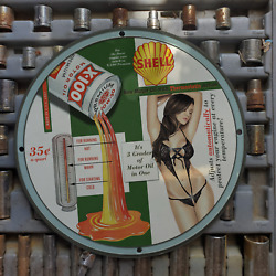 Vintage 1957 Shell ''x-100'' Motor Oil Porcelain Gas And Oil Metal Sign