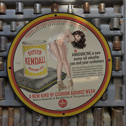 Vintage 1960 Kendall And039superb 10w-30and039 Lubricants Porcelain Gas And Oil Metal Sign