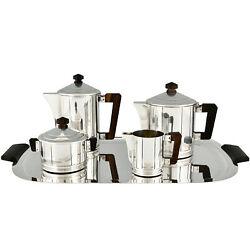 Art Deco 5 Piece Silvered Tea And Coffee Set Ercuis France 1930