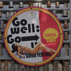 Vintage 1968 Shell 'go Well' Oil Company Porcelain Gas And Oil Metal Sign