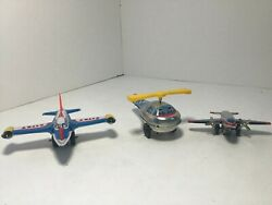 Vintage Lot Of 3 Small Tin Toy Airplanes And Helicopter - See Pictures.