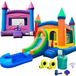 Inflatable Pink Bounce House Rainbow Castle Water Slide Pool Combo And Blower