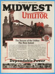 1920 Midwest Engine Utilitor Garden Tractor Indianapolis Plow Riding Mower Ad