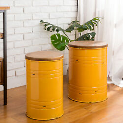 Glitzhome 19h Modern Metal Storage Seat Stools Yellow Accent End Table Set Of 2