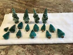 Vintage Christmas Bottle Brush And Plastic Trees Lot Of 16