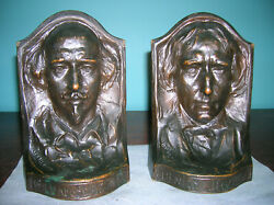 Rare Antique Shakespeare Henry Irving Mark Twain Griffoul Bookends Solid Bronze