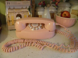 Vintage Pink Retro Crosley Push Button Rotary-look Telephone Table Top Phone
