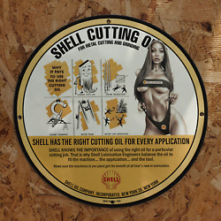 Vintage 1945 Shell Oil Company's Cutting Oil Porcelain Gas And Oil Metal Sign