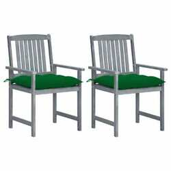 Directorand039s Chairs With Cushions 2 Pcs Gray Solid Acacia Wood