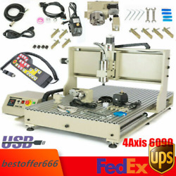 Usb 4axis Cnc6090 Router Engraver Metal Mill Drill 3d Engraving Machine 1500w+rc