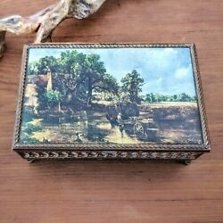 Vintage/antique Georgian Pictorial Footed Casket Jewelry Box 'the Hay Wain'