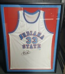 Larry Bird Signed Auto Indiana State Jersey Coa Superstar Greetings Frame 12/133