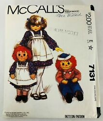 Vtg Mccall 7131 36 Raggedy Ann And Andy Doll Sewing Pattern + Childs Apron Sz 2-6