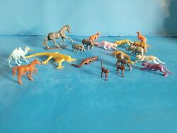 A Lot Of 19 Plastic/rubber Toy Animals.zoo.educational Tool.fast Free Shipping.
