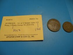 Australia 1/2 Penny 1948 And 1 Penny 1943 Littleton Stamp And Coin M9